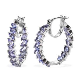 4 Carat Tanzanite Hoop Earrings in Platinum Plated Silver 6.68 Grams