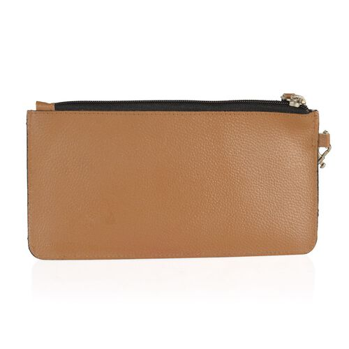 100% Genuine Leather Tan Colour RFID Pebbled Women Wallet (Size 20x10 Cm)