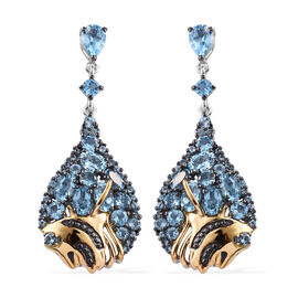 GP Swiss Blue Topaz (Rnd and Ovl), Kanchanaburi Blue Sapphire Earrings (with Push Back) in Platinum,