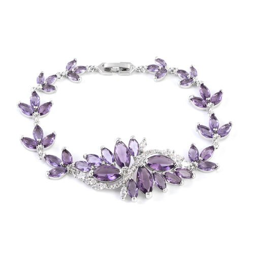 Simulated Amethyst (Mrq), Simulated White Diamond Floral Bracelet (Size 8) in Silver Tone