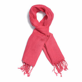 New Season Linen Handloom Woven Fuchsia Colour Shawl (Size 180x70 Cm)