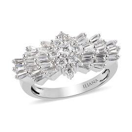 ILIANA 1 Carat Diamond Ballerina Ring in 18K White Gold IGI Certified SI GH