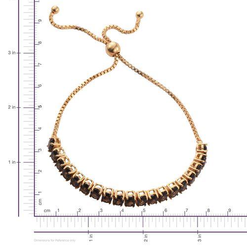 14K Gold Overlay 8 Carat Brazilian Smoky Quartz Adjustable Bracelet (Size 6.5 to 8.5)