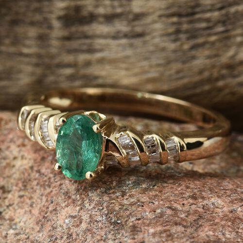 9K Yellow Gold AA Kagem Zambian Emerald (Ovl), Diamond Ring 1.000 Ct.