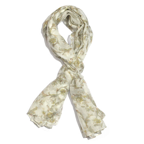 100% Mulberry Silk Green, Off White and Multi Colour Floral Hand Screen Printed Scarf (Size 180X100