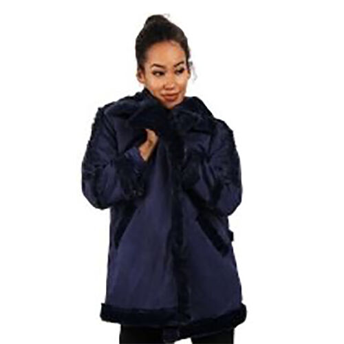 Faux Fur Suede Shearling Style Navy Coat (Size L)