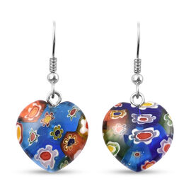 Multi Color Murano Glass Earrings in Stainless Steel 26.00 Ct.
