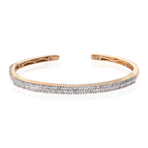 GP 1.27 Ct Diamond and Kanchanaburi Blue Sapphire Cuff Bangle in Gold Plated Sterling Silver