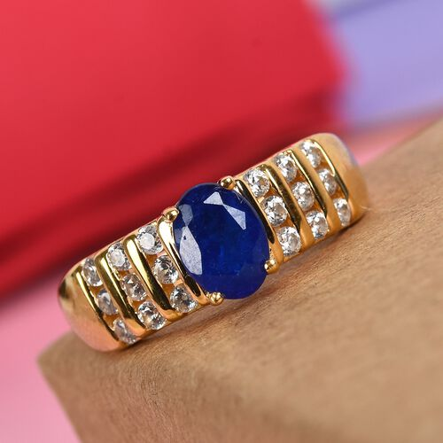 Tanzanian Blue Spinel and Natural Cambodian Zircon Ring in 14K Gold Overlay Sterling Silver Ring 1.50 Ct.