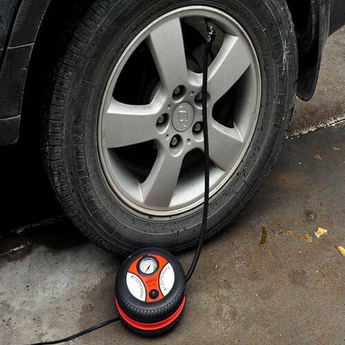 Portable Tyre Inflator with Pressure Gauge (Size 18.5x9.9x18.5cm) - Black and Red