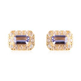 Tanzanite (Oct), Natural White Cambodian Zircon Earrings (with Push Back) in Yellow Gold Overlay Ste