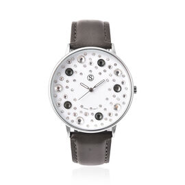STRADA Japanese Movement Multi Colour Austrian Crystal Studded Water Resistant Watch with Dark Grey
