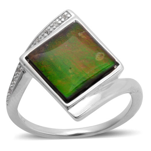 Canadian Ammolite (Sqr 3.00 Ct), White Topaz Ring in Platinum Overlay Sterling Silver 3.050 Ct.
