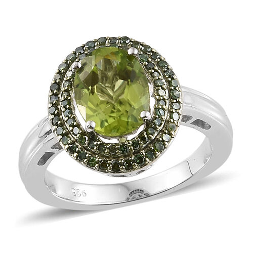 2.15 Ct AA Hebei Peridot and Green Diamond Double Halo Ring in Silver