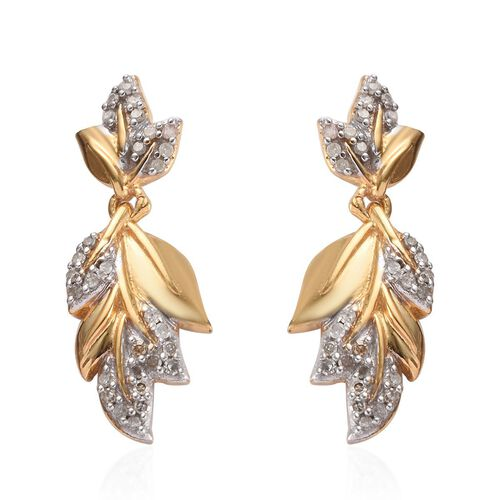 Diamond (Rnd) Leaf Earrings (with Push Back) in 14K Gold Overlay Sterling Silver 0.34 Ct.