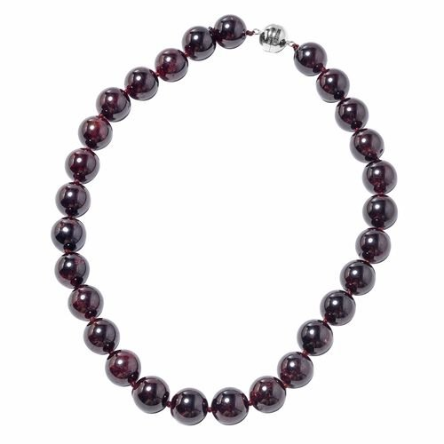 1263.50 Ct AAA Mozambique Garnet Beaded Necklace in Sterling Silver 20 Inch