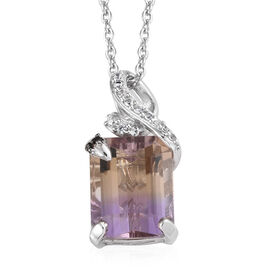 Natural Anahi Ametrine (Oct), Boi Ploi Black Spinel and Natural White Cambodian Zircon Pendant with