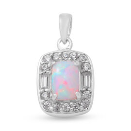 Ethiopian Welo Opal and Natural Cambodian Zircon Pendant in Rhodium Overlay Sterling Silver