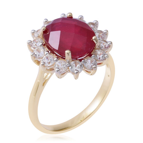 9K Yellow Gold AAA Rare Size African Ruby (Ovl 12x10 mm 7.50 Ct), Natural Cambodian Zircon Ring 9.600 Ct.