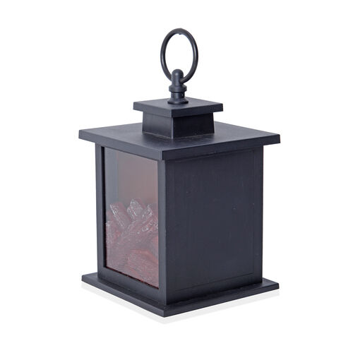 Home Decor - Set of 2 Fireplace Lantern with 2 LED Light (Size 18.5x12x12 Cm)