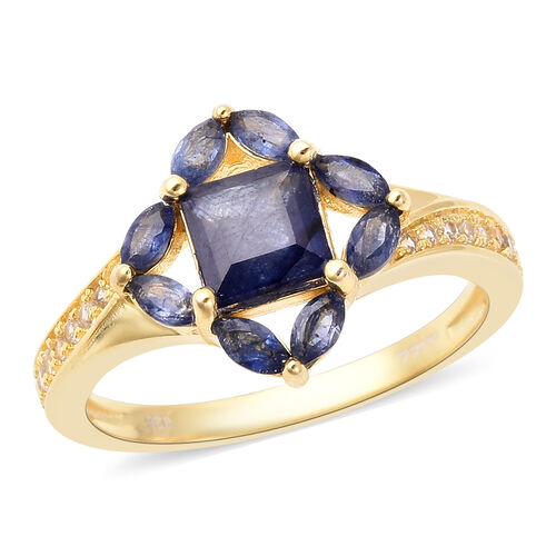 Isabella Liu Floral Collection - Masoala Sapphire and Natural Cambodian Zircon Ring in Yellow Gold O