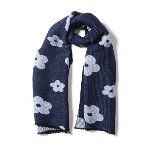 Designer Inspired- Plum Blossom Flower Pattern Scarf (Size 170x65cm) - Navy Colour