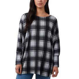 Nova Of London Check Pattern Batwing Top (Size 8 to 18) - Black & Grey