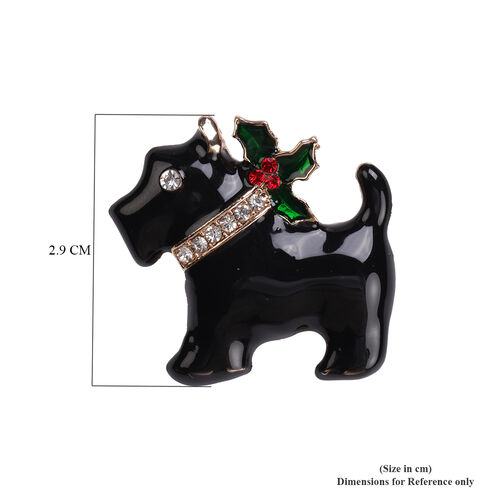 Red and White Austrian Crystal Enamelled Dog Brooch