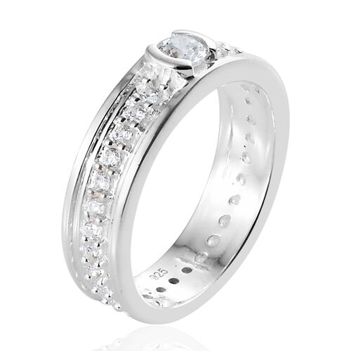 J Francis - Sterling Silver (Rnd) Full Eternity Ring Made With SWAROVSKI ZIRCONIA