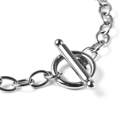 Personalise Engravable 2 Disc Charm Bracelet, in Stainless Steel 8.5inches