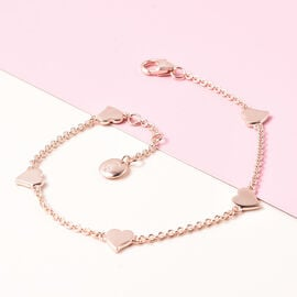 RACHEL GALLEY Heart Collection - Rose Gold Overlay Sterling Silver Heart Station Adjustable Bracelet (Size 8)