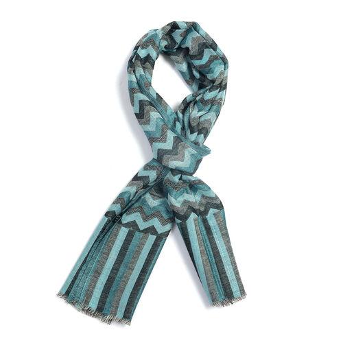 100% Cashmere Wool Blue, Grey and Multi Colour Zig Zag Pattern Scarf L 180x W 70 cm