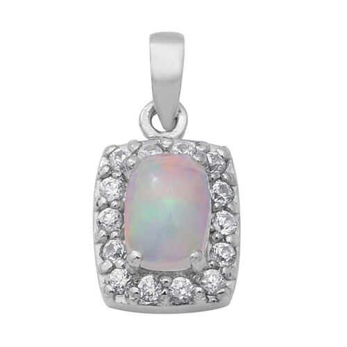 Ethiopian Welo Opal and Natural Cambodian White Zircon Pendant in Rhodium Overlay Sterling Silver 1.