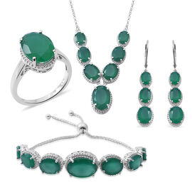 Verde Onyx (Ovl) Ring, Necklace (Size 18), Adjustable Bracelet (Size 6.5 to 7) and Lever Back Earrings in Rhodium Plated Sterling Silver 50.000 Ct. Silver wt 23.38 Gms.