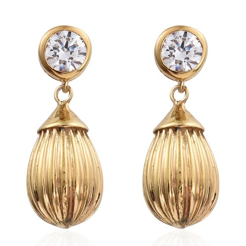 Super Auction-J Francis - 14K Gold Overlay Sterling Silver (Rnd) Earrings (with Push Back) Made with SWAROVSKI ZIRCONIA.Silver Wt 7.01 Gms