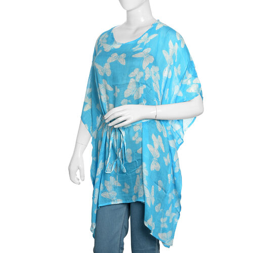 Blue and White Colour Butterfly Printed Kaftan (Free Size)