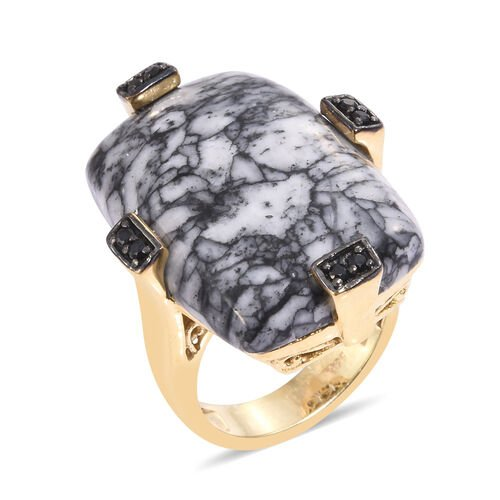 Austrian Pinolith  Boi Ploi Black Spinel Ring in 14K Gold Overlay Sterling Silver 31.750 Ct.