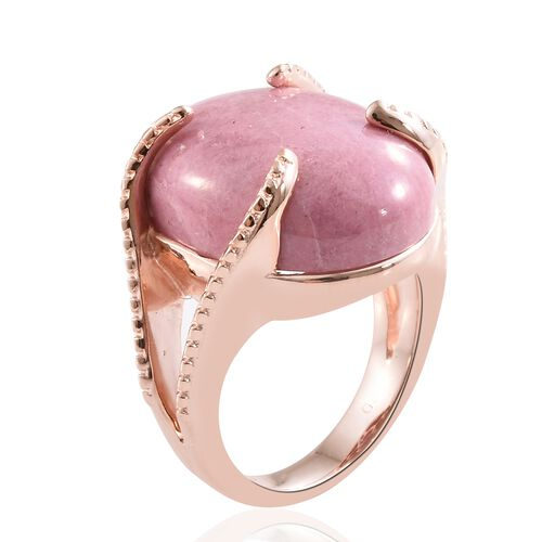 One Time Deal Brazilian- Rhodonite (Ovl) Ring in 18K Rose Gold Plated 20.000  Ct.