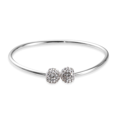 Charmes De Memoire Bangle in Platinum Plated Sterling Silver 7.60 Grams 7 Inch