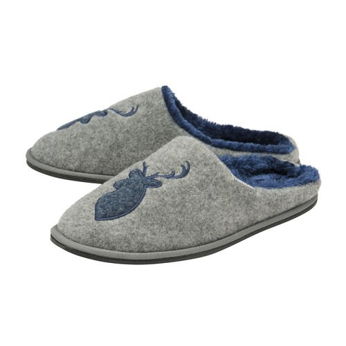 Dunlop Faux Fur Lining Memory Foam Stag Slip On Slippers (Size 8) - Grey