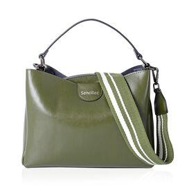 SENCILLEZ 100% Genuine Leather Green Colour Satchel Bag with Removable Shoulder Strap (Size 27x19x10