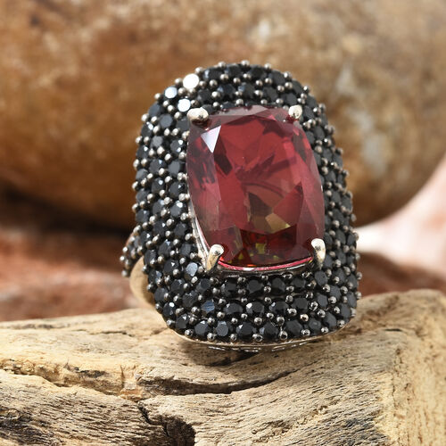 Finch Quartz (Cush 16x12 mm), Boi Ploi Black Spinel Ring in Platinum Overlay and Black Plating Sterling Silver 16.000 Ct, Silver wt 7.44 Gms.