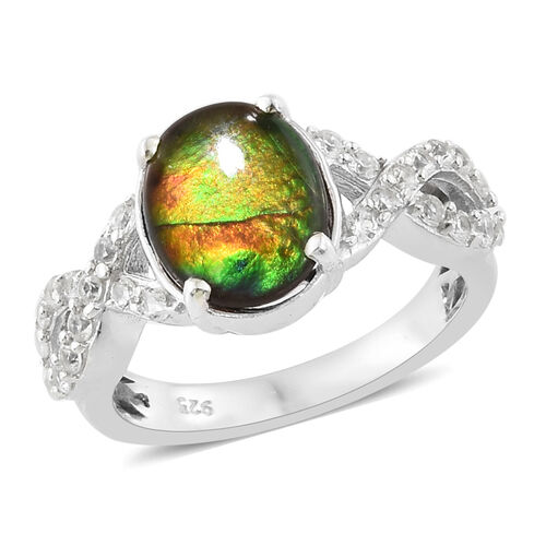 AA Canadian Ammolite (Ovl 10x8 mm), Natural White Cambodian Zircon Ring in Platinum Overlay Sterling