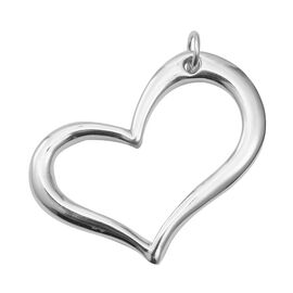 High Finish Heart Pendant in Rhodium Plated Sterling Silver 4.67 Grams