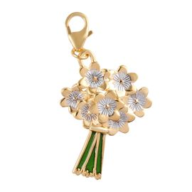 14K Gold Overlay Sterling Silver Enamelled Flower Bouquet Charm