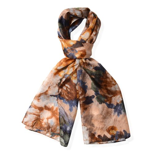 Designer Inspired- 100%  Mulberry Silk Light Brown and Multi Colour Floral Pattern Scarf (Size 175x53 Cm)