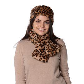 2 Piece Set - Leopard Pattern Faux Fur Headband (Size 13x51 Cm) and Collar Scarf (Size 13x86 Cm) - B