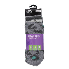 SNUGGIE Set of 2 Female Socks Lagoon Leopard and Stripe Pattern in Green and Grey Colour
