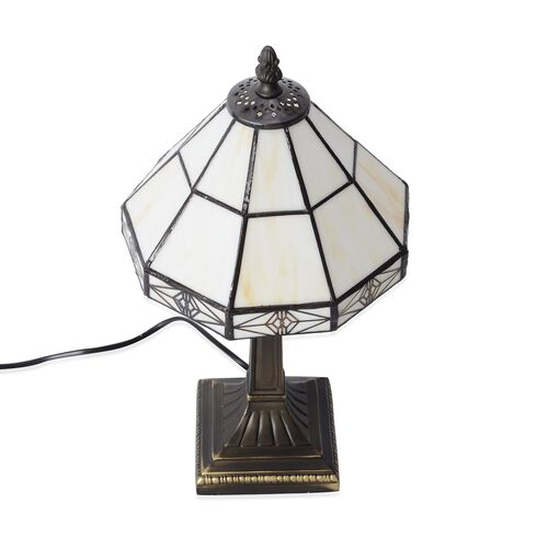Home Decor - Tiffany Style Table Lamp with Handcrafted Stained Glass - Ivory White with Mother of Pearl Plating Finish