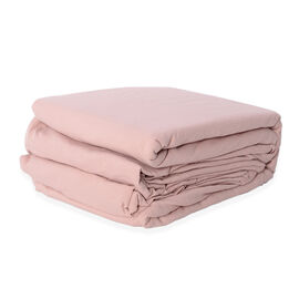 Single Size Sheet Set of 3- Extremely Soft Stone Washed Dusty Rose Colour Fitted Sheet (190x90x30 Cm), Flat Sheet (260x180+5 Cm) and Pillow Case (75x50+5 Cm)